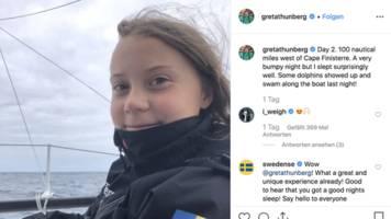 Auf dem Weg nach New York: So geht es Greta Thunberg nach ihrer ersten Nacht auf See