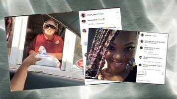 am drive-in: taxi-fahrerin besucht kundin bei der arbeit – mit einer süßen Überraschung