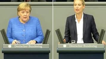 Schlagabtausch im Bundestag: Merkel und Weidel streiten über Klimaschutz: Nonsens oder Menschheitsaufgabe?