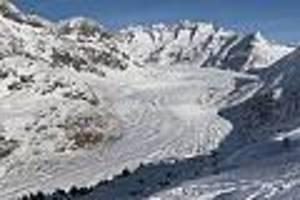 alpengletscher dramatisch geschrumpft - forscher schlagen alarm: aletschgletscher seit 2000 um einen kilometer geschrumpft