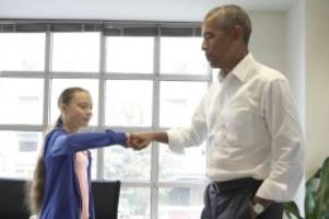 Klima-Aktivistin auf Reisen: Greta Thunberg in Amerika: Fist Bumping mit Obama