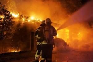 Brände: Schuppen in Flammen: Feuerwehr ist vier Stunden im Einsatz