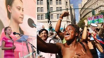 Rede bei Klimastreik: Greta Thunberg vor Zehntausenden in New York: Unser Haus brennt!