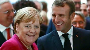 Demonstrativer Schulterschluss: Merkel und Macron stellen sich im Zollstreit hinter Airbus