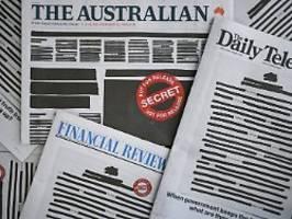 protest für die pressefreiheit: australiens zeitungen schwärzen titelseiten