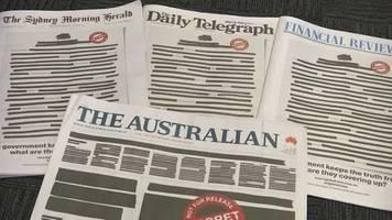 Video: Ruf nach Pressefreiheit - Australische Zeitungen erscheinen mit geschwärzten Titelseiten