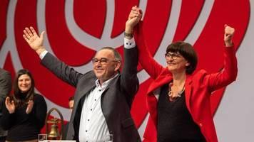 SPD-Parteitag: +++ SPD wählt Esken und Walter-Borjans als Vorsitzende - mit deutlich unterschiedlicher Zustimmung +++