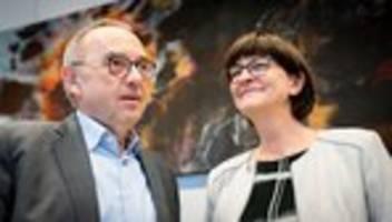 Saskia Esken und Norbert Walter-Borjans: Angela Merkel empfängt neue SPD-Spitze