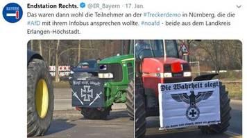news vom wochenende: banner mit rechtsextremen bannern auf bauern-demo in nürnberg