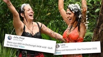 Dschungelcamp, Tag 8: Wenn aus AKK im Dschungel AKW wird – Twitter-Nutzer verspotten Elena und Danni