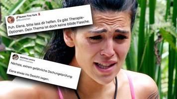 Dschungelcamp, Tag 13: Lass dir helfen, es gibt Therapien - Zuschauer sticheln nach Elenas Ausbruch