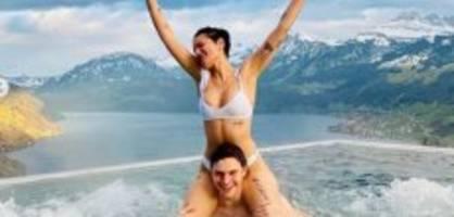 valentinstag : halsey plantscht mit lover in schweizer pool
