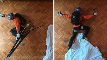 Video: Wegen Coronavirus-Pandemie: Spanier verlegt Skipiste ins eigene Wohnzimmer