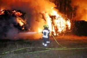 Feuer: Großeinsatz bei Wandlitz - Gelagerte Holzstämme brennen