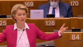 Wegen Corona: 750 Milliarden Euro: Von der Leyen wirbt für EU-Wirtschaftshilfen