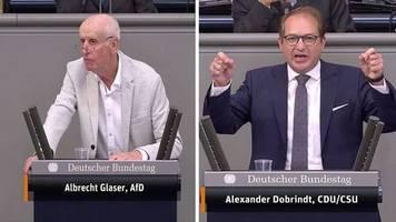 bundestagsdebatte : an dummheit nicht zu überbieten: alexander dobrindt weist afd-mann in die schranken