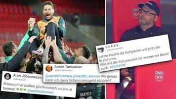 Netzreaktionen zur Relegation: Werder feiert Klassenerhalt und Pizarro – doch die Bundesligafans erzürnt eine Bratpfanne