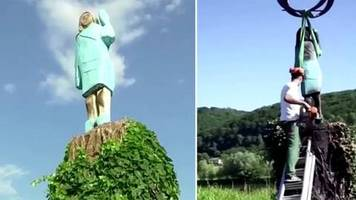 Slowenien: Unbekannte brennen Statue von Melania Trump ab – die wird nun abgesägt
