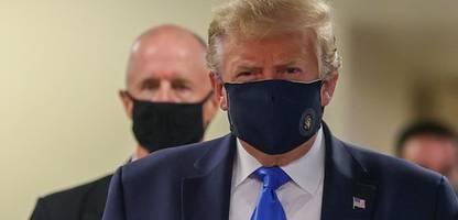 coronavirus news am sonntag: donald trump trägt maske bei besuch von militärkrankenhaus