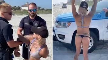 Diskussion über Video: Zu viel nackte Haut an US-Strand: Polizei nimmt Frau wegen ihres Tangas fest