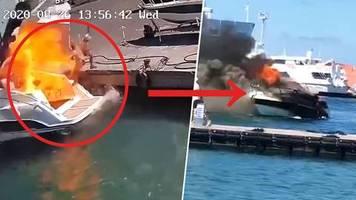 dramatische szene im video: jacht explodiert nach tankvorgang – druckwelle schleudert frau ins wasser