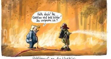 Donald Trump, Armin Laschet, Brände in den USA: Die Cartoons der Woche von Thomas Plaßmann und Klaus Stuttmann