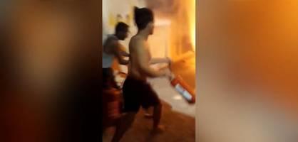 feuer im flüchtlingslager auf samos – brand unter kontrolle