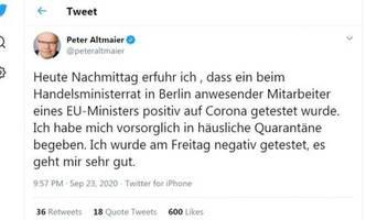 coronafälle im arbeitsumfeld: minister altmaier und maas müssen sich vorsorglich in corona-quarantäne begeben