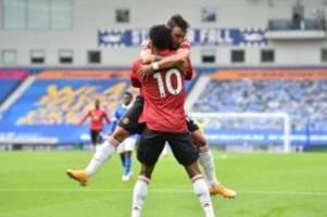 Premier League: Turbulente Nachspielzeit: Man United siegt 3:2 in Brighton