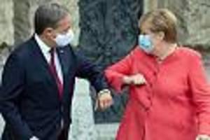 """Lob für die Kanzlerin - Laschet verteidigt Merkel-Ära: """"Der Kurs der Mitte war und bleibt richtig"""""""