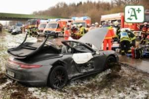 großeinsatz: neun verletzte bei massenunfall mit sechs pkw auf der a24
