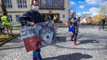 demo vor umweltministerkonferenz gegen wachsende zahl wölfe