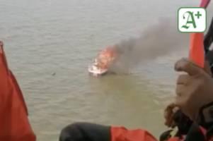 nordsee: spektakuläre rettung von brennender motoryacht - im video