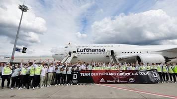 olympia-teilnehmer am montag in frankfurt empfangen