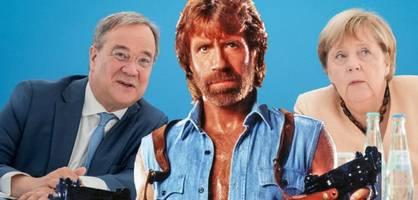 Laschet tritt mit Merkel und Chuck Norris auf