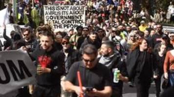 gewaltsame proteste gegen lockdown in australien