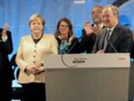 Merkel wirbt in Stralsund für Laschet