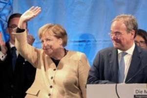 Wahlkampf: Union warnt vor Linksbündnis - Merkel wirbt für Laschet