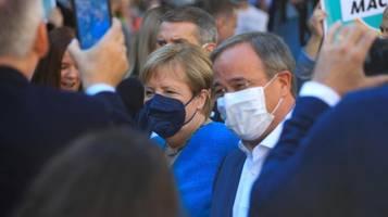 Bundestagswahl: Merkel nennt Laschet Politiker mit Leidenschaft und Herz