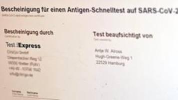Coronatest-Bescheinigungen - Ermittlungen gegen Test-Express